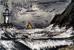 ...Tempête en Bretagne - 1999 huile sur toile 89 x 130 cm ©ADAGP Cette peinture à l'huile est la dernière peinte par Bernard Buffet...