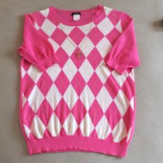 Adorable pink/white J CREW short sleeve sweater. Very light weight J CREW pink/white/yellow sweater. Very little show of wear. J. Crew Sweaters Crew & Scoop Necks