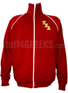0a94090a6cb8 Red Pi Kappa Alpha track jacket with logo letters on the left breast. Alpha  Fraternity