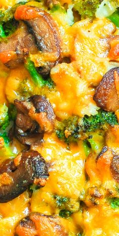 Cheddar Cheese Broccoli and Mushroom Casserole with Rice - easy dinner!