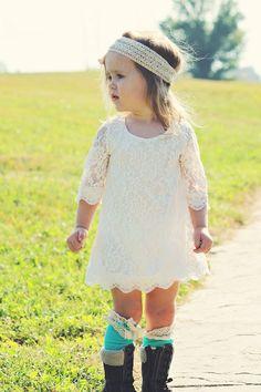 Lace 3/4 sleeve dress Photography prop, Flower girl dress