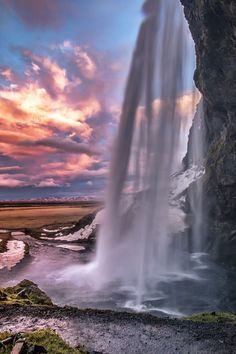 Dawn at the Seljalandsfoss waterfall in Iceland
