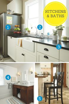 Kitchen and bath improvements to increase your home's value Ikea Kitchen, Kitchen And Bath, Exposed Rafters, Grey Houses, Energy Efficient Homes, Home Repairs, Vintage Chairs, Easy Home Decor, Simple House
