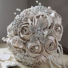 Gorgeously different take on a wedding bouquet. Champagne & Chocolate Round Crystals & Satin Floral Large Bouquet