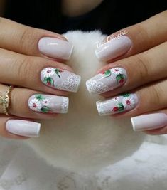 Love the nails w/o the design, color is so pretty w/ just a hint of white tip❣️❣️❣️ Holiday Nails, Christmas Nails, Spring Nails, Summer Nails, Cute Nails, Pretty Nails, Basic Nails, Nail Jewels, Cute Nail Designs