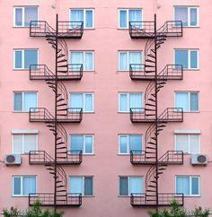 fire escapes stock photo