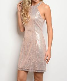 Pink Silver Sequin Halter Dress | Sequin Sheath Dress | Minidress Shimmering #fashion #style #dress   Glam-tastic party-cocktail ready shimmering sequin halter dress. Low-cut back with slender straps adding to the allure and sultry elegance of this rose silver sequin dress. All over sequins adds a luminous style and pairs perfectly with the cut away shoulder halter neckline.