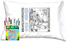 COLOR-ME PRAYER PILLOWCASE: THE MAGI Features a picturesque image of the richly robed Wise Men and their tasseled camels eagerly approaching Bethlehem. So many interesting details to color with fabric markers, or to paint, or even embroider! Includes Scripture and a sweet prayer (Thank you Sarah!) too. Ages 9+.