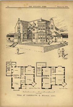 1902 Villa At Carlisle Wh Mclachlan Architect | eBay
