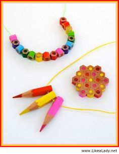 I think the cut off chunks of pencils would be really cute on elastic thread for a bracelet