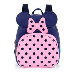 2-7 Years Kindergarten Schoolbag Princess Dot Bow Mickey Children's Backpack Waterproof PU Leather Girls School Bag Kids Satchel