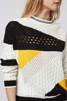 Cutabout Cricket Jumper...I love the pop of yellow and the mixing of knit patterns in this graphic sweater!
