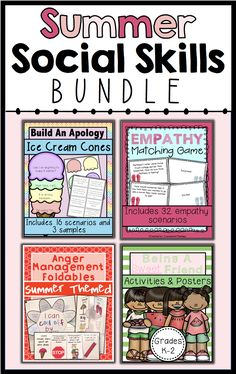 Includes 4 social skills resources that are summer-themed. Use this bundle to help students learn about empathy, anger management, apologizing and friendship!
