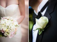 White rose bouquet and boutonniere.  www.mikiandsonja.com