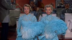 """The """"Sisters"""" Routine in White Christmas starring Rosemary Clooney as Betty Haynes and Vera-Ellen as Judy Haynes"""
