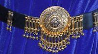 Authentic Vintage Judith Leiber Black super soft leather Belt Gold lieber