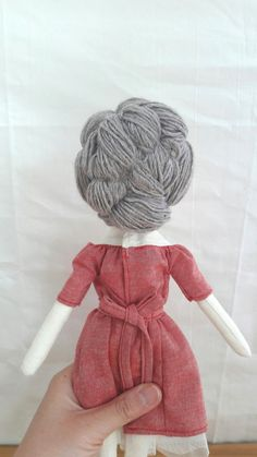 Coco, handmade doll, art doll, girls room decor, embroidered  Cocos dress is fastened with small metal snap button and waist ribbon.  Beautiful and unique handmade doll collection by Mini bliss  May not be appropriate for children under 3 years old.  --linen body --wool hair --linen dress with French embroidery decoration --tulle underskirt attached --polyester fiberfill --eyes, nose and lips hand embroidered  --approximately 14 (36cm) inches tall  --spot clean as needed   READY TO SHIP…