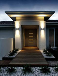 Unique outdoor lighting Ideas That Bring Magic Into The 8585841588 House Design, House With Porch, Front Door Lighting, House Entrance, House Architecture Design, House Exterior, Outdoor Party Lighting, Porch Design, Modern Outdoor Lighting