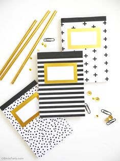 DIY gold foil notebooks and notepads, perfect for back to school in style or for a chic home office! - BirdsParty.com @birdsparty