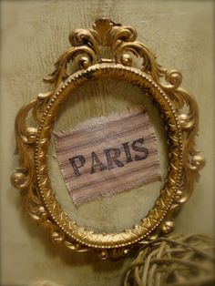 Vintage Paris Frame - Upcycled Versailles Green Distressed Wood - Dark Waxed Pocket. $32.00, via Etsy.