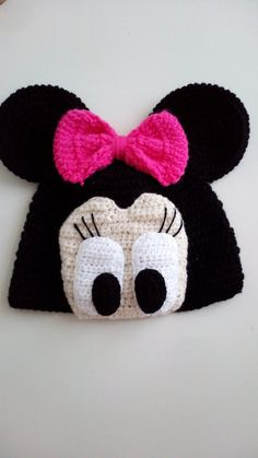 Diy Crafts - Minnie Mouse Crochet Hat-for halloween-Mini Mouse Hat-Crochet Baby Hat-for Baby or Toddler-Girl Hat- Crochet Baby Jacket, Crochet Baby Beanie, Crochet Kids Hats, Baby Hats Knitting, Hat Crochet, Crochet Minnie Mouse Hat, Baby Mickey Mouse, Crochet Disney, Mini Mouse