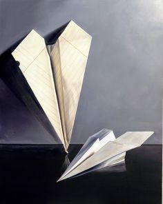 jeanne vadeboncoeur paper airplane oil painting, still life realism Ap Drawing, Food Drawing, Composition Painting, Contemporary Art Artists, Still Life Artists, Art Criticism, Street Gallery, Cardboard Art, Painting Still Life