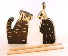 Tiger and Rabbit Wooden puppets,  Stick puppets by Baumstammbuch