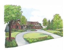 Eplans Landscape Plan: The design for this charming Tudor-style home employs a repetitive theme of curved shapes throughout the landscape. Beginning with the circular driveway, the theme can be seen in the rounded outlines of Circle Driveway Landscaping, Landscaping Shrubs, Driveway Design, Circular Driveway, Landscaping Ideas, Curved Patio, Landscaping Software, Outdoor Landscaping, Outdoor Walkway