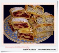 cseresznyes_es_tokos-makos_retes-1_600x538 Hungarian Recipes, Hungarian Food, Filo Pastry, Strudel, Fudge, French Toast, Breakfast, Filo, Morning Coffee