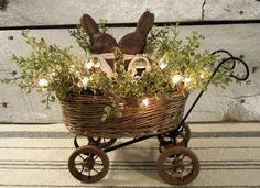 Primitive Beeswax Bunny Rabbits and Wicker Buggy by WillowBPrimitives