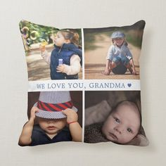 We Love You 4 Photo Collage Personalized Blue Throw Pillow - tap, personalize, buy right now! #ThrowPillow #mothers #day, #grandparents #family, #collage, Purple Throw Pillows, Accent Pillows, Family Collage, 4 Photos, Perfect Pillow, Custom Photo, Custom Pillows, Grandparents, Pillows