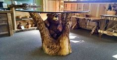 Adorable Bear Table Chainsaw Carving
