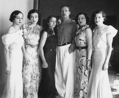 King Zog I of Albania and sisters (from left to right) : Ruhije, Myzejen, Nafije, Senije and Maxhide . 1930s