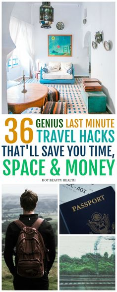 36 last minute travel hacks you haven't thought of yet. Find ways to get cheap deals on airfare, hotels, weekend getaways, vacations, road trips, cool destinations and more! Follow these tips to help you better prepare and save money on your travels. Hot Beauty Health #traveltips #travelhacks #travel #savemoney