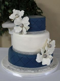 navy blue and silver bridal shower cakes | Navy Quilted Jeweled Cake