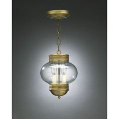 Northeast Lantern Onion 2 Light Outdoor Hanging Lantern Finish: Raw Brass, Shade Type: Frosted