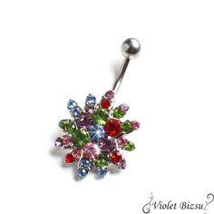 e165eb15c1 Multicolor virág káprázatos sexy orvosi fém köldök piercing Különleges  orvosi fém köldök piercing Káprázatosan csillog 🙂 Kb.2cm az egész köldökbe  simul