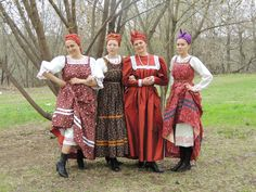 Russian traditional costume. Arkhangelsk region. Summer coast of the White Sea