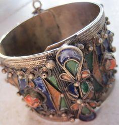 Vintage Berber Cuff Bracelet - Algerian Kabyle Enamel and Coral Bracelet via Etsy