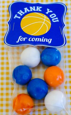 Basketball Birthday Party PRINTABLE Favor Tag by by lovetheday. dont have to put gumballs but some other tpye of candy for little ones.