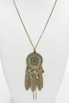 Collier Sautoir INDI Chic plumes et métal vieilli, Un bijou fantaisie original et pas cher !