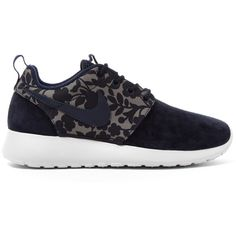 Nike x Liberty Obsidian Cameo Print Roshe One Trainers ($125) ❤ liked on Polyvore featuring shoes, sneakers, nike, lacing sneakers, print sneakers, lace up sneakers and print shoes