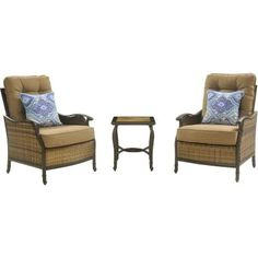 Hanover Hudson 3-Piece Patio Square Lounge Set With Teak Cushions-HUDSONSQ3PC - The Home Depot