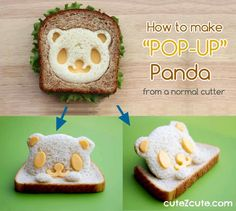 "How to make ""pop up"" bread from a normal cutter by @CuteZcute Easy tutorial.  Video tutorial here: http://instagram.com/p/b6b3cDI1MY/"