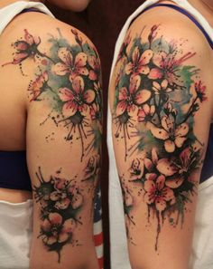 cover up tattoo, watercolor tattoos, watercolour tattoos, sleeve tattoos, tattoo sleeves, flower tattoos, cherry blossom tattoos, arm tattoo, cherry blossoms