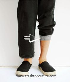 This is a great way to transform a pair of sweats that may be a bit short or unflattering into track pants. I personally find this style more flattering with running shoes as well…which I wear a lot.
