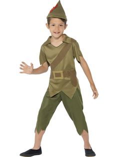 That was Robin Hood's motto and that's what made him a hero. Your child can be a hero of the people with this Playful Robin Hood Child Costume which can also work as a Peter Pan costume as well. Green Costumes, Boy Costumes, Halloween Costumes For Kids, Children Costumes, Baby Halloween, Robin Hood Fancy Dress, Boys Fancy Dress, Marvel Dc, Peter Pan Costume Kids