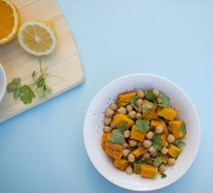 Recipe - Roast Pumpkin, Chickpea and Coriander Salad - Eat Well NZ Roast Pumpkin, Chickpea Salad, Coriander, Yummy Treats, Dog Food Recipes, Tasty, Lunch, Stuffed Peppers