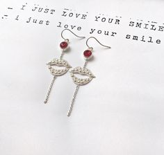 I JUST LOVE YOUR SMILE SILVER EARHOOKS WITH RED STONES &  A SMILE