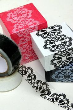 Delightfully easy yet super elegant! Use vinyl lace tape (find on etsy or ebay) to add a sophisticated look to simple gift boxes. Specially a good idea when packing a lot of same sized gifts.